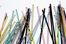 Glass Straws With Colored Liquid Stock Photos