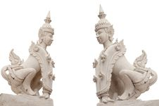 Free Sculpture Arts In Temple On White Background Stock Photo - 14962530