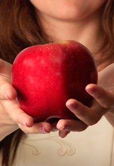 Free The Girl And An Apple Royalty Free Stock Photo - 14962695