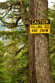 Free Caution Falling Ice And Snow Royalty Free Stock Images - 14963689