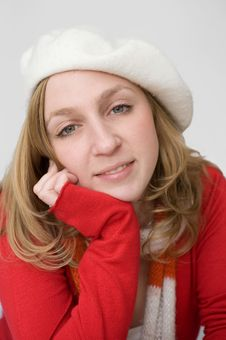 Free Young Woman In White Beret Royalty Free Stock Photo - 14963715