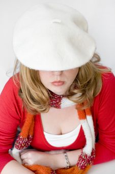 Free Young Woman In White Beret And Scarf Royalty Free Stock Photography - 14963717