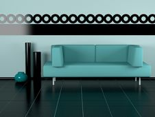 Free Green Sofa, Three Vases In The Room Royalty Free Stock Photos - 14964238