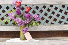 Free Vase Of Fresh Tulips And Lilac With Tag Royalty Free Stock Photos - 14964358