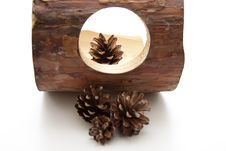 Free Fir Cone With Wood Stock Photo - 14964720