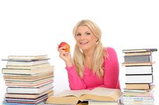 Free Pretty Smart Woman With Lots Of Books Study Royalty Free Stock Photo - 14965425