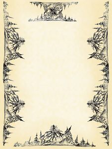 Drawn Elements Of Decorative Pattern On A Paper Stock Photo