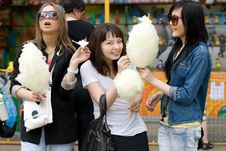 Free Three Girls Eating Candy Floss Stock Images - 14967344