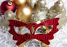 Christmas Decorations And Mask Royalty Free Stock Images