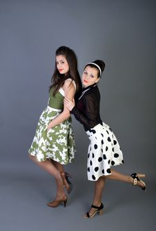 Free Two  Happy Retro-styled Girls Royalty Free Stock Image - 14967626