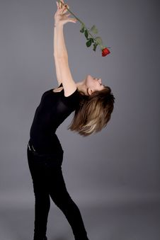 Free Beautiful Girl With Rose Stock Photos - 14967793