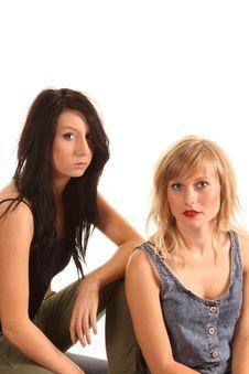 Dark And Blonde Teenage Models Royalty Free Stock Images