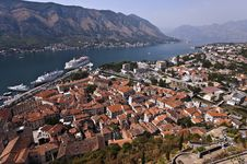 Top View Of Kotor Town And Kotor Bay Royalty Free Stock Photography