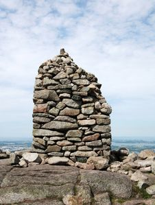 Cairn On Top Of A Mountain Royalty Free Stock Photos