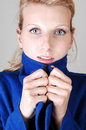 Free Pretty Lady In Blue Coat. Stock Photos - 14971043