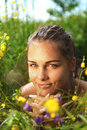 Free Portrait Of A Beautiful Girl Lays On A Grass Royalty Free Stock Photography - 14971057