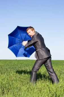 Free Businessman Finding Protection In Field Royalty Free Stock Photo - 14970165