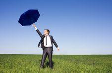 Free Portrait Of Businessman Under Umbrella On The Sky Royalty Free Stock Photo - 14970235