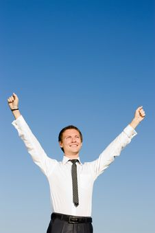 Free Businessman Showing His Success At The Field Royalty Free Stock Photos - 14970558