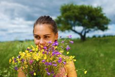 Free Girl Is Gathering Bouquet In A Field Stock Image - 14970931