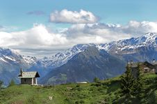 Free Church And Farm In The Alps Stock Photography - 14970952