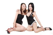 Two Chinese Girls In Lingerie.. Royalty Free Stock Images