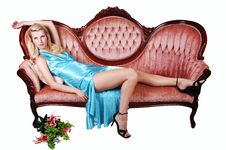 Free Beautiful Girl Lying On A Sofa. Royalty Free Stock Photo - 14971025