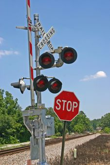 Railroad Crossing Gate Royalty Free Stock Photos