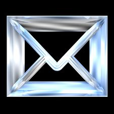 Envelope Email Symbol In Glass (3d) Stock Image