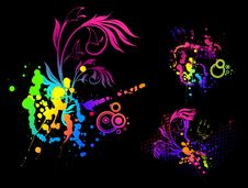 Free Floral Abstract Banner With Blots Royalty Free Stock Image - 14972096