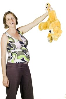Free Funny Portrait Of Pregnant Woman Holding A Teddy Stock Images - 14972544