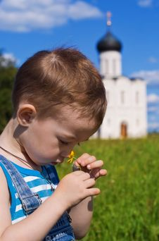 Free Little Boy On A  Orthodox Church Background Royalty Free Stock Photography - 14972607