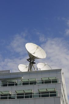 Satellite Dishes On A Roof Royalty Free Stock Photography