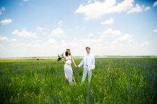 Just Married Couple On The Nature Stock Photo