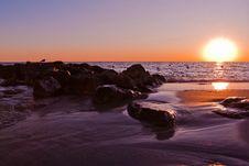 Free Seashore Washed At Sunset Royalty Free Stock Images - 14973129