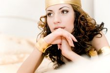 Free Young Women Lie On The Bed Stock Photos - 14973273
