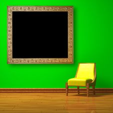Free Yellow Chair With Antique Frame Royalty Free Stock Images - 14973909