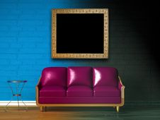 Free Purple Couch, Table, Frame And Standard Lamp Stock Photos - 14973923