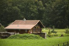 Charming Farmhouse In The Swiss Alps Royalty Free Stock Image