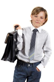 Free Portrait Of Cute Schoolboy With Suitcase Royalty Free Stock Images - 14974489