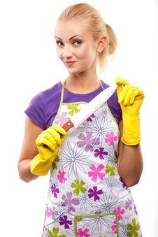 Free Housewife And Knife Stock Image - 14974961