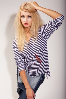 Free Woman And Striped Top Stock Photos - 14974983