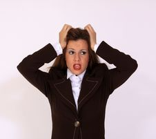 Facial Expression Of Stressed Girl Stock Images