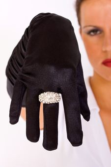 Free Black Satin Gloves And Ring Royalty Free Stock Photography - 14975257
