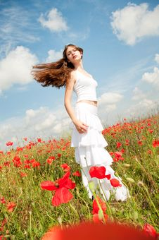 Free Girl In Poppies Royalty Free Stock Photography - 14975267