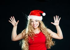 Free Young Pretty Girl In Santa Hat Stock Images - 14976964