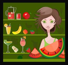 Free Beautiful Girl With Fruits And Juice Stock Image - 14977371