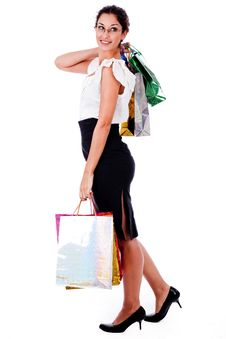 Free Young Woman Holding Shopping Bags Royalty Free Stock Photos - 14978988