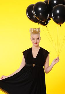Free Lady With Black Balloons Stock Photos - 14979513