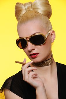 Charming Lady With A Cigarette Stock Images